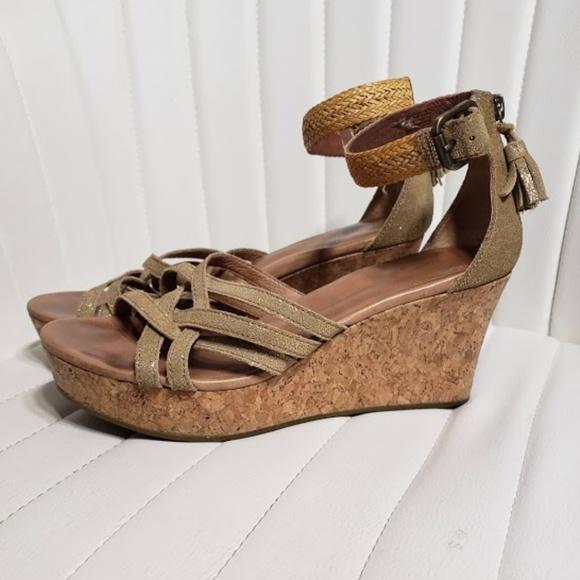 8a5d64604dd UGG Lillie Shimmer Suede Wedge Sandals Size 8